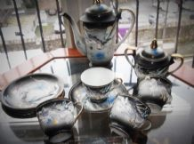 VINTAGE ORIENTAL CHINA GILDED PART COFFEE SET RAISED MORIAGE BLUE GREY DRAGON